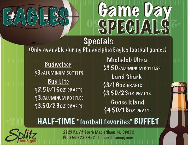Flyer for Eagles Game Day Specials