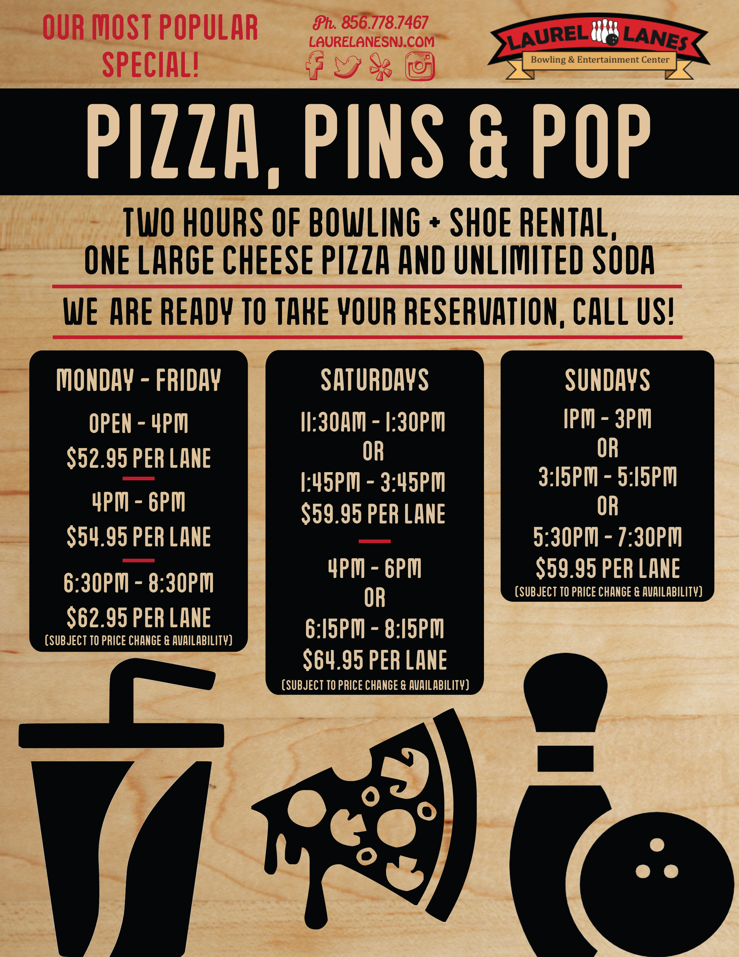 flyer for Pizza, Pins, & Pop Special